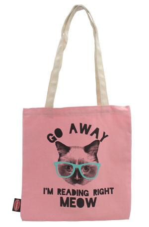 Tote Bag: Pink Reading Right Meow