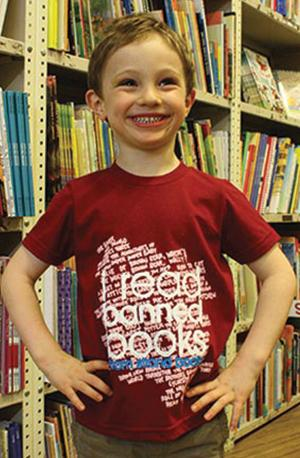 T-Shirt: Kid's Cranberry Banned Books Banned Books Week